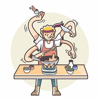 Hombre con múltiples brazos cocinando ilustración multitarea
