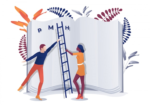 Hombre multirracial y mujer sosteniendo escalera cerca de libro