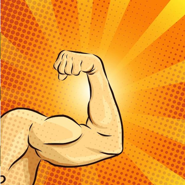 Hombre musculo ilustración vectorial