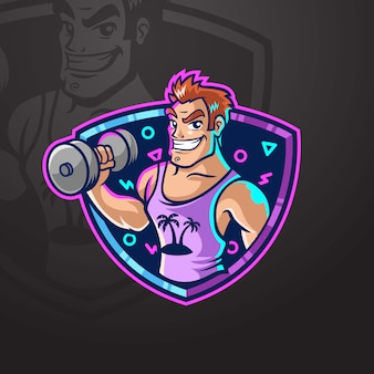 Hombre musculoso levantando pesas logotipo de gimnasio