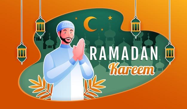 Hombre musulmán dando la bienvenida a ramadán kareem