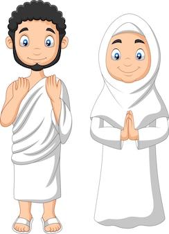 Hombre musulmán de dibujos animados y mujer vestida con ropa ihram