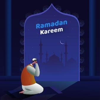 Hombre musulmán de dibujos animados en tayammum pose con mezquita y vista nocturna sobre fondo azul para la celebración de ramadan kareem.