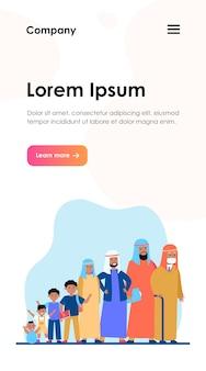 Hombre musulmán en diferentes edades. desarrollo, niño, vida. ciclo de crecimiento y concepto de generación para el diseño de sitios web o páginas web de destino