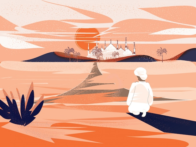 Hombre musulmán haciendo orar en ramadán en el desierto con la mezquita
