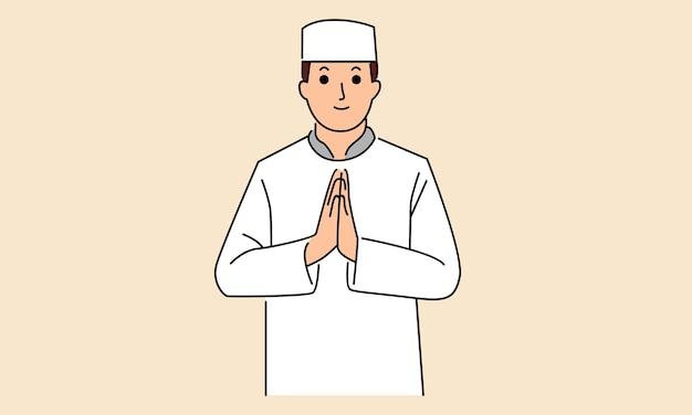 Hombre musulmán ied fitr carácter