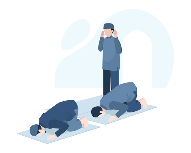 Un hombre musulmán llega tarde a salat en la ilustración de la mezquita
