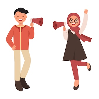Hombre musulmán y mujer con megáfono para campaña promocional. estilo plano aislado sobre fondo blanco.