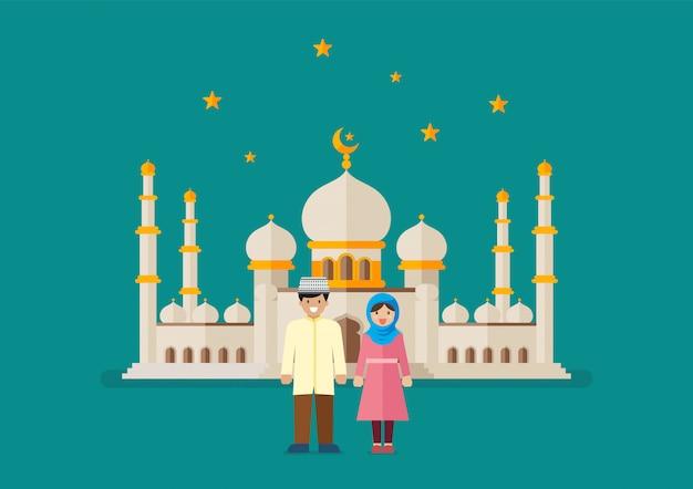 Hombre musulmán y mujer con mezquita en segundo plano.