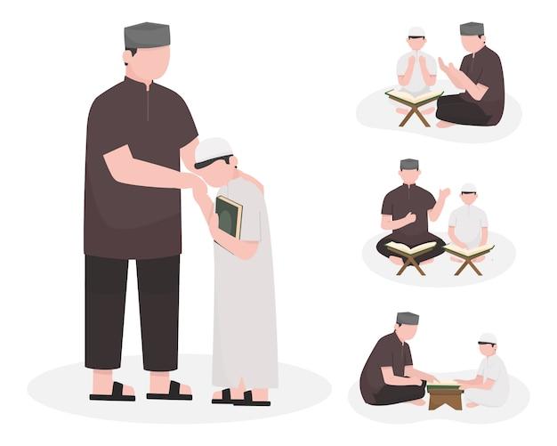 Hombre musulmán y niño conjunto de caracteres enseñanza y lectura del corán