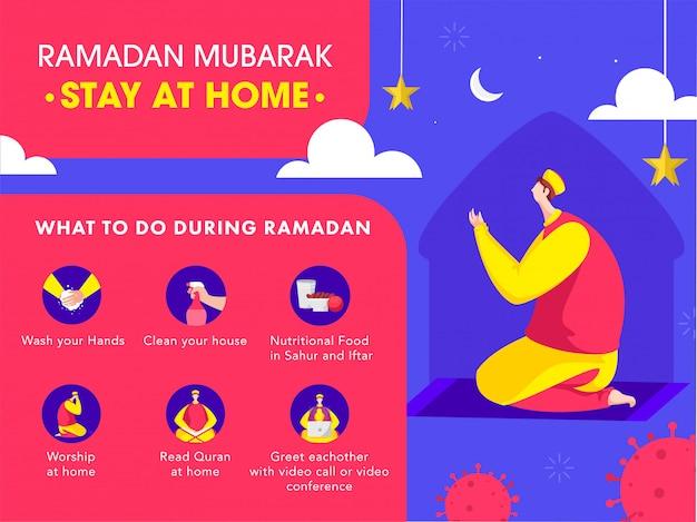 Hombre musulmán que ofrece a namaz en el hogar con covid-19 prevención sobre la campaña de sensibilización en las redes sociales de ramadán mubarak.