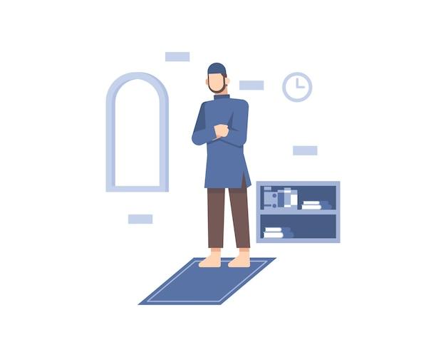 Hombre musulmán rezar sobre alfombra de oración
