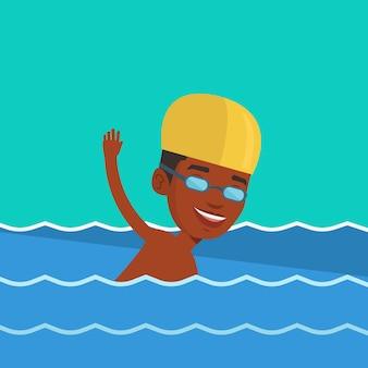 Hombre nadando ilustración vectorial.