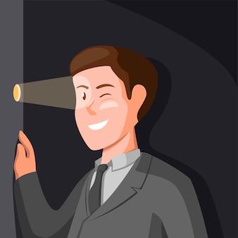 Hombre de negocios acechando desde el agujero de la puerta. concepto de símbolo de acosador en la ilustración de dibujos animados