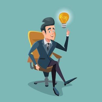 Hombre de negocios acertado consigue la bombilla de la idea. innovación empresarial.