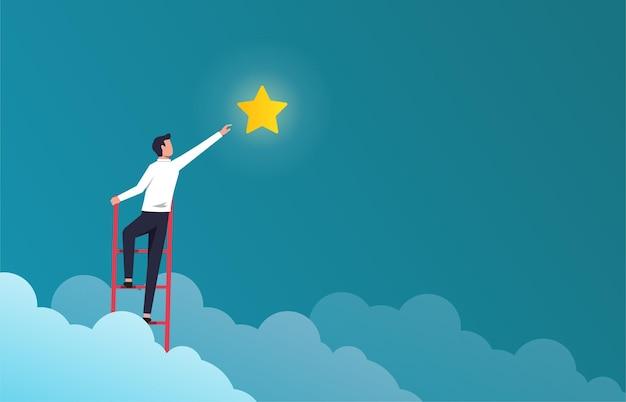 Hombre de negocios acertado en la escalera para alcanzar la ilustración de la estrella. símbolo de éxito en los negocios y la carrera.