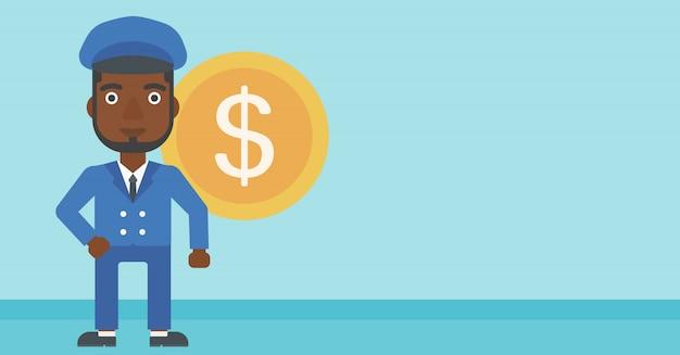Hombre de negocios acertado con la moneda del dólar.