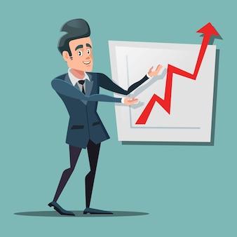 Hombre de negocios acertado que señala en la tabla de crecimiento. planificación empresarial.