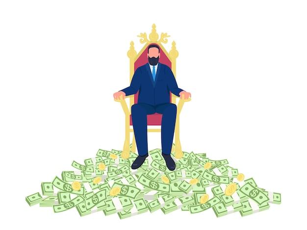 Hombre de negocios acertado que se sienta en el ejemplo plano del concepto del trono