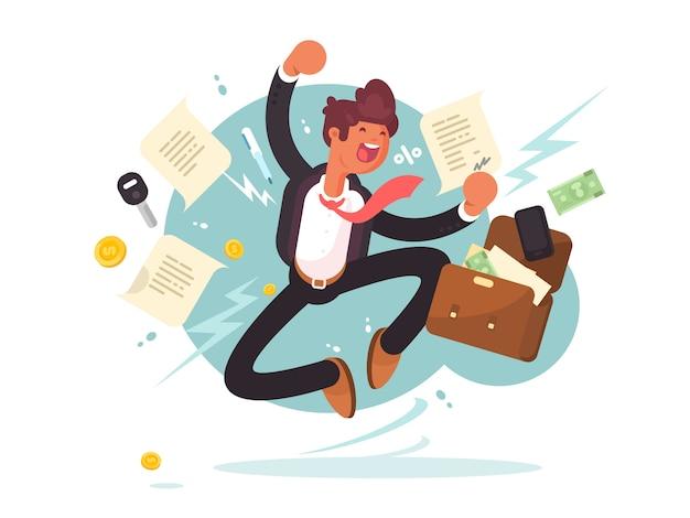 Hombre de negocios acertado saltando de alegría. hombre alegre con maletín de dinero y documentos. ilustración