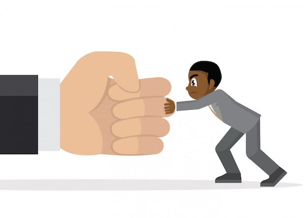 Hombre de negocios africano que sostiene una mano de perforación gigante.