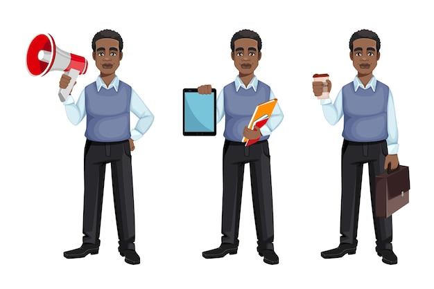 Hombre de negocios afroamericano, conjunto de tres poses