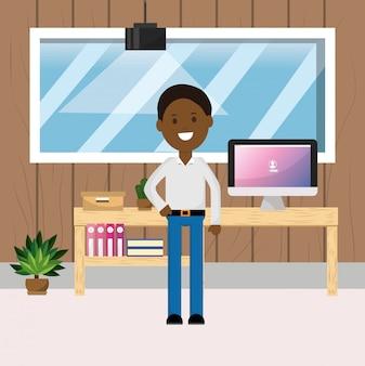 Hombre de negocios afroamericano escritorio de oficina computadora libros planta ilustración