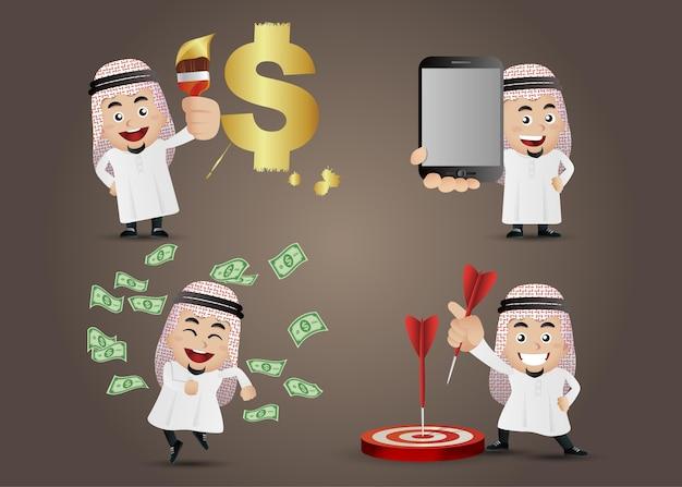 Hombre de negocios árabe en personajes de dibujos animados de diferentes acciones