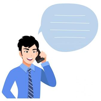 Hombre de negocios asiático hablando por teléfono móvil. ilustración en un estilo