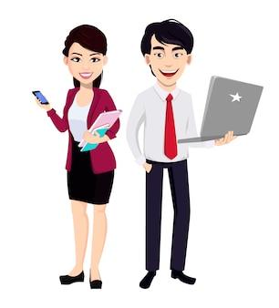 Hombre de negocios asiático y mujer de negocios