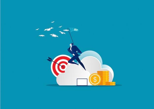 Hombre de negocios atrapar dinero en vector de concepto de nube