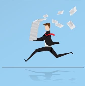 Hombre de negocios atropellado en una pila de papel