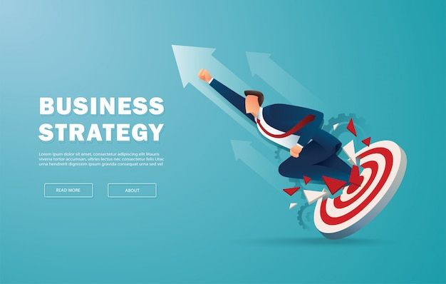 Hombre de negocios avance el tiro con arco objetivo para tener éxito