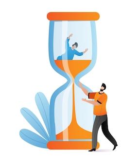 Hombre de negocios ayuda a colega fecha límite, concepto de gestión del tiempo, mujer fregadero plano de reloj de arena.