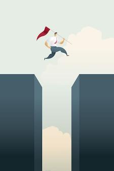 El hombre de negocios con la bandera salta a través del gráfico de barras de la parte superior de los objetivos y la oportunidad de desafío.
