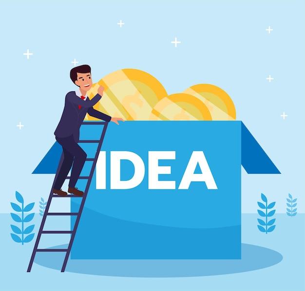 Hombre de negocios en busca de ideas creativas. hombre de negocios subiendo para encontrar una idea por encima de la caja. ilustración de vector de diseño plano
