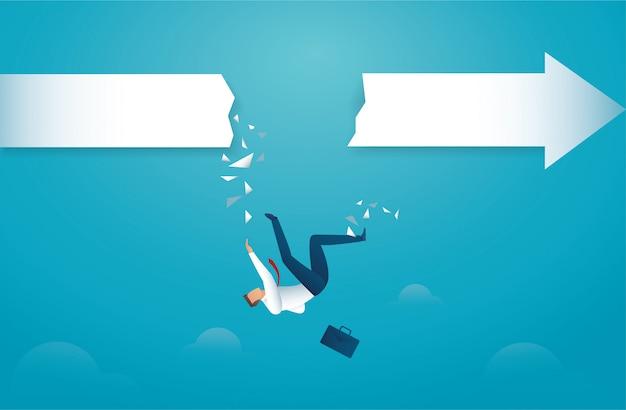 Hombre de negocios cae de flecha