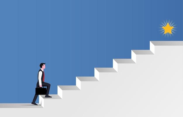 Hombre de negocios caminando por la escalera para el símbolo del éxito.