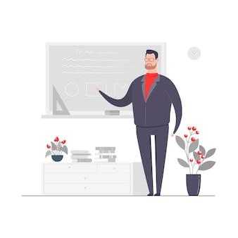Hombre de negocios, carácter, concepto, ilustración, profesor, pizarra, pizarra, enseñanza, aula