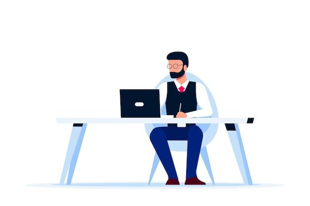 Hombre de negocios caucásico trabajando en equipo en el escritorio. estilo plano.
