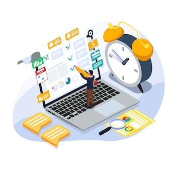 Hombre de negocios chect para hacer la lista en la computadora portátil. ilustración de planificación isométrica