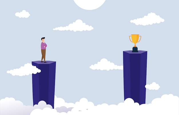 Hombre de negocios en cliff thinking cómo alcanzar el objetivo con el concepto de negocio de obstáculos