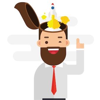Hombre de negocios con cohete lanzando desde su cabeza