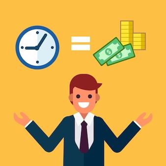 El hombre de negocios compara tiempo con dinero.