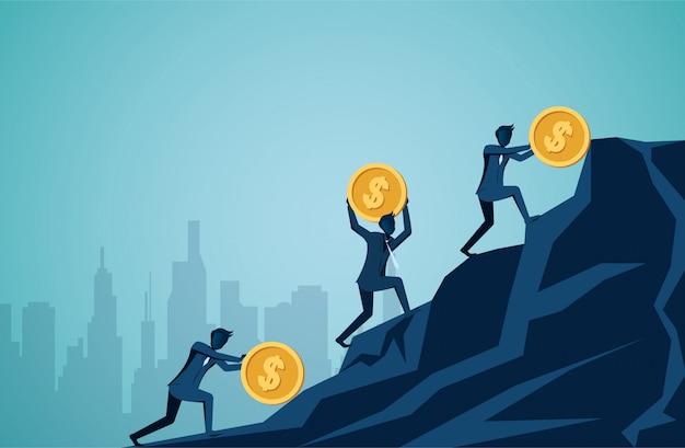 El hombre de negocios compite con el rodillo y empuja la moneda del dólar del icono cuesta arriba en la montaña hasta la meta del éxito