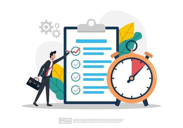 El hombre de negocios completa la lista de verificación con la ilustración del símbolo del reloj.