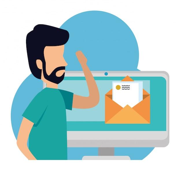 Hombre de negocios con computadora y correo electrónico