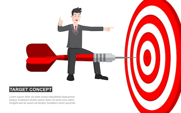 Hombre de negocios en el concepto de la historieta del tiroteo del dardo.