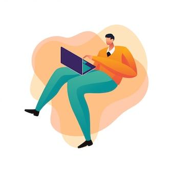 Hombre de negocios concepto hombre usando laptop ilustración plana