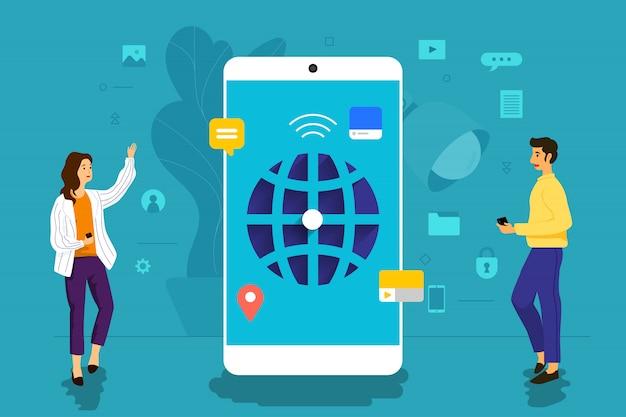 Hombre de negocios del concepto de la ilustración que trabaja para la aplicación móvil juntos construyendo la red mundial. ilustrar.